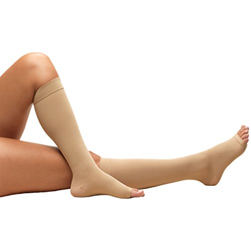 Truform Short Length Surgical Stockings, 18 mmHg Compression for Men and Women, Reduced Length, Open Toe, Beige, Small