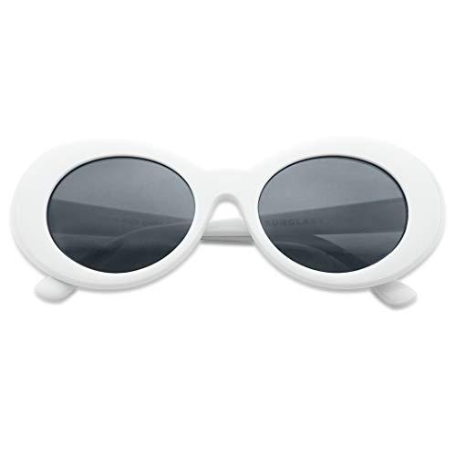 Klassische Sonnenbrille, ovale Gläser, inspiriert von Kurt Cobain Nirvana, Weiá (White | Black), Einheitsgröße