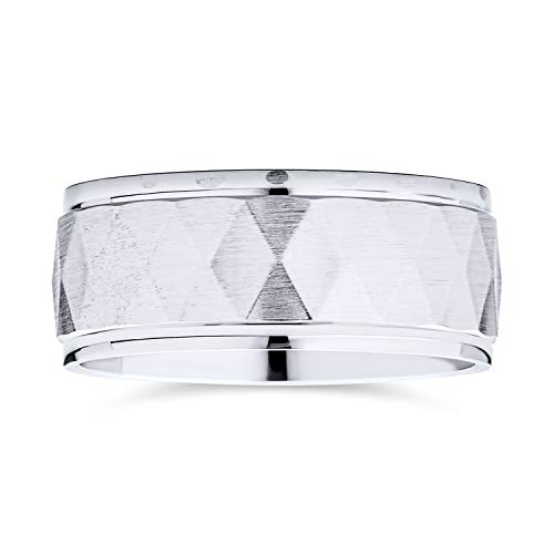 Personnalisez la gravure personnalisée Elegant Unisex Couples Diamond Cut Multi Faceted Prism Pattern Wedding Band Ring For Men Women Brushed Finish .925 Sterling Silver 8MM Wide