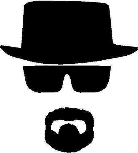 Breaking Bad Heisenberg Face Hat Chihuahua Autoaufkleber Fenster Vinyl Aufkleber Tablet PC Truck (5,5 Zoll, Schwarz)