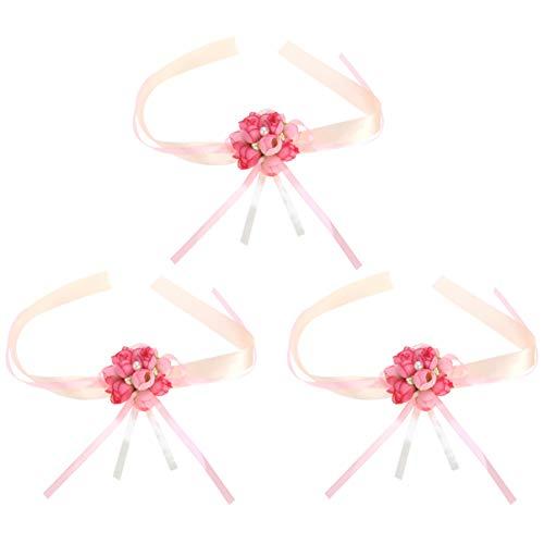 PRETYZOOM Juego de 3 pulseras de corpiño para novia, dama de honor, muñeca con flores, perlas, pulsera para fiesta de boda (rosa)