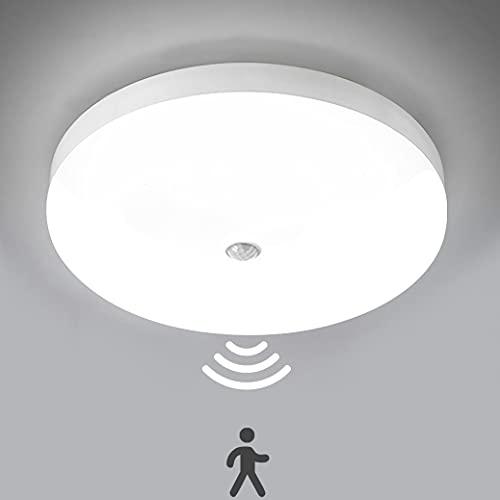 Plafonnier LED 30W 3000LM Lampes de Plafond avec détecteur de mouvement,Rond Ultra-mince LED Lampe Imperméable IP56 Luminaire Intérieur Parfait pour Chambre Cuisine Balcon Couloir Ø25cm