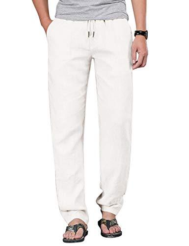 poriff Mens Lounge Pants Cotton Elastic Waist Pants Relaxed Fit Teousers Men White XL