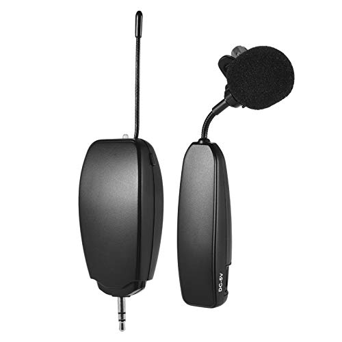 Loski Sistema de micrófono inalámbrico UHF 1 transmisor y 1 receptor Instrumento musical Lavalier Micrófono de solapa para teléfono inteligente Altavoces para computadora Cámaras Presentaci