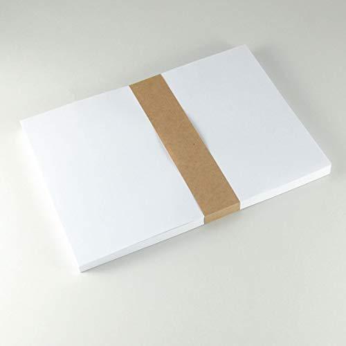 100 DIN A5 Bogen nassklebendes, weißes Papier - Etikettenpappier mit Gummierung - zum selbst Bedrucken, Beschriften und Auseinanderschneiden. An Gläsern rückstandsfrei ablösbar.
