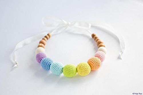 Find Bargain HICOC Children Toy Sale Pastel Rainbow Nursing Necklace - Easter Baby Gift, Teething Be...