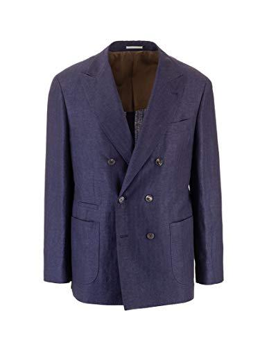 Luxury Fashion | Brunello Cucinelli Heren MW4207BBDC058 Donkerblauw Linnen Blazers | Lente-zomer 20