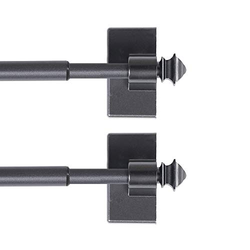 H.VERSAILTEX Magnetic Curtain Rods for Metal Doors Multi-Use Rods for Small Windows Cafe Sidelight and Iron Steel Places, Tool Free with Square Finials (2 Pack, Adjust from 9 to 16 Inch, Pewter)
