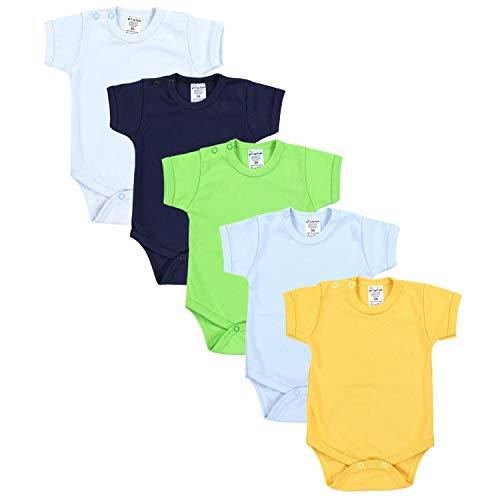 TupTam TupTam Jungen Baby Body Kurzarm in Unifarben - 5er Pack, Farbe: Farbenmix 1, Größe: 56