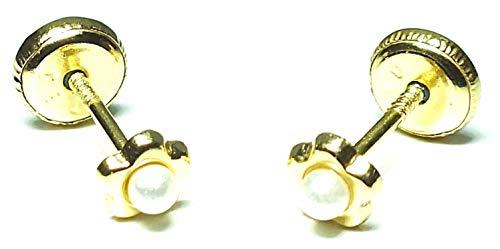 Pendientes oro 18k, bebe recien nacida, niña o mujer, modelo flor mini con perla cultivada en el centro y con cierre de seguridad