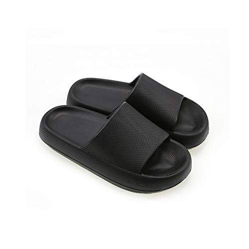 kkkl Pillow Slides Sandals, Cloud Feet Ultra-Soft Slippers, Unisex Shower Sandals with Thick Sole, for All Season (Black, 45-46)