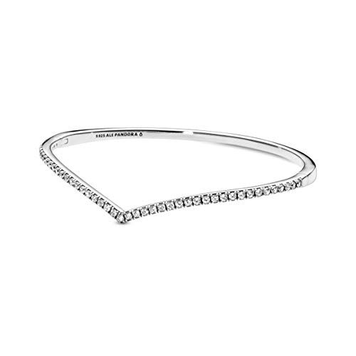 Pandora Jewelry Sparkling Wishbone Bangle Cubic Zirconia Bracelet in Sterling Silver, 6.3