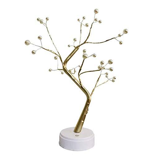 XIAN Bonsai - Luz de árbol (36 LED, luz blanca cálida, con pilas, funciona con USB)