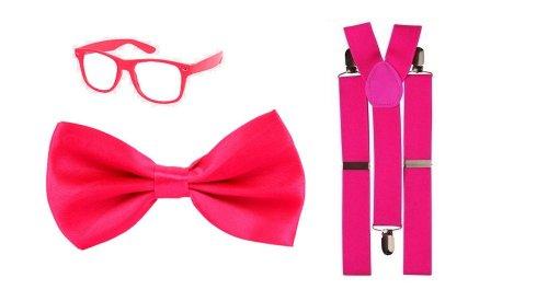 Mens Ladies pink NERD GEEK DWEEB SCHOOL GIRL BOY fancy dress costume accessories - GLASSES, BOW TIE, BRACES.