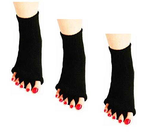 3 pares de calcetines con separador de dedos, calcetines de algodón para alineación de pies para mujeres, calcetines de masaje de yoga deportivos para aliviar el dolor