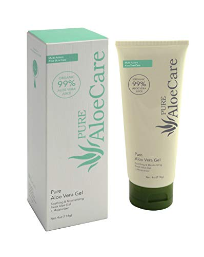 PURE AloeCare 99% Pure Organic Aloe Vera Gel, Provides Aloe Vera Benefits in Their Natural State to Moisturize, Nourish, Repair, Soothe, Great for Scaring, Burns, Sun Burn, Eczema, 4 oz (114g)