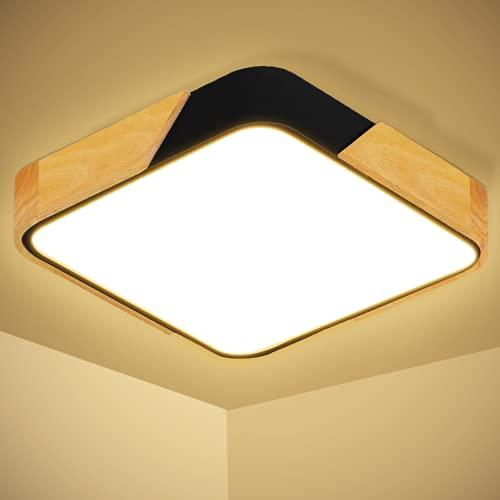 Kimjo 24W LED Lámpara de Techo 2400LM Moderna Madera Cuadrada Plafon Techo LED Blanco cálido 3000K Plafón LED Para Habitacion Cocina Sala de Estar Dormitorio Pasillo Comedor Balcón Oficina