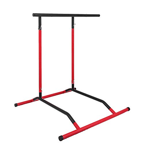 Popsport 330LBS Pull Up Dip Station Power Tower Station Multi-Station Power Tower Workout Pull Up Station with Carry Bag for Home Fitness (Black&Red No Bag)