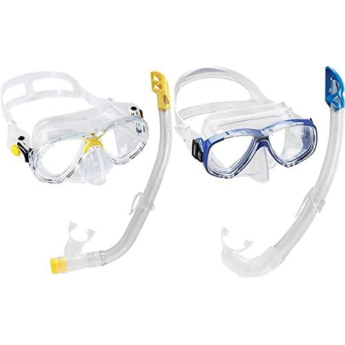 Cressi Set Marea VIP Jr Máscara/Tubo Junior Kit + Combo Set Perla Conjunto Combinado De Máscara De Buceo Y Snorkel, Mar De Perlas, Unisex-Adult, Azul, Talla Única