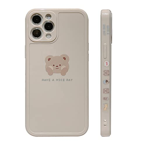 YKCZL Compatible with iPhone 11 Pro Max Case Cute Painted Design Brown Bear with Cheeks for Women Girls Slim Stylish Soft TPU Cover for iPhone 11 Pro Max(White)