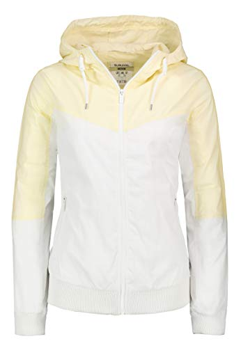 Sublevel Leichte Damen Jacke im Colorblock-Style mit Kapuze Yellow S