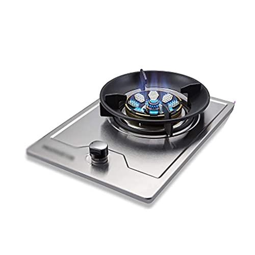 Nueva cocina de gas de 43 cm Placa de cocina de gas empotrada |Para cocinar de mesa |5.0KW |Aros de cocina de hierro fundido Quemador eléctrico | Fácil de limpiar [Clase energética A] (Color: Plata
