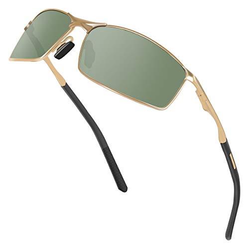 Sunmeet Gafas de Sol Hombre Polarizadas Deportes 100% Protección UV Gafas de sol para Hombre Conducción S1008(Verde/Negro)