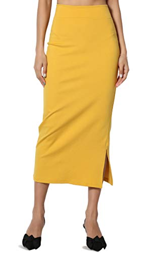 TheMogan Women's Side Slit Ponte Knit High Waist Mid-Calf Pencil Skirt Mustard XL