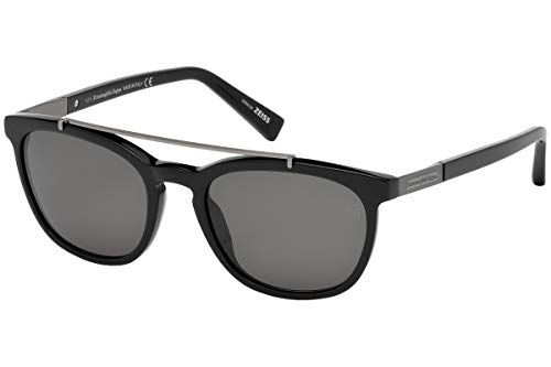 Ermenegildo Zegna EZ0044 Sunglasses 53 01D Shiny Black Smoke Polarized