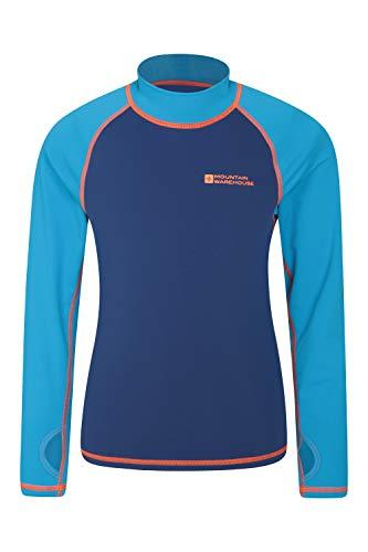 Mountain Warehouse Badeshirt für Kinder - Schwimmshirt mit UV-Schutz, Schnelltrocknendes Rash Guard Stretch, Langarmshirt für Kinder, Flache Nähte Blau 152 (11-12 Jahre)