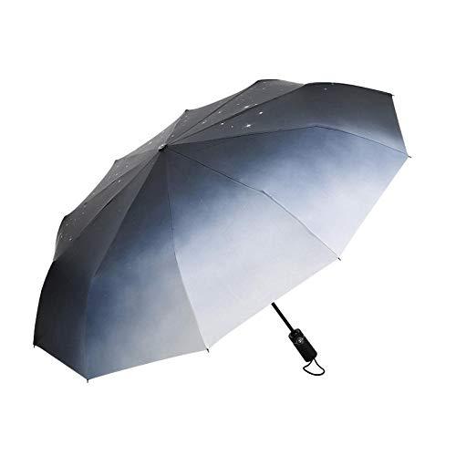 BLACK ELL Anti UV Plegable Paraguas,Viaje Impermeable Paraguas,Paraguas de protección UV de 10 Huesos, Lluvia automática o Paraguas de Lluvia-Luz de Las Estrellas_10 acciones