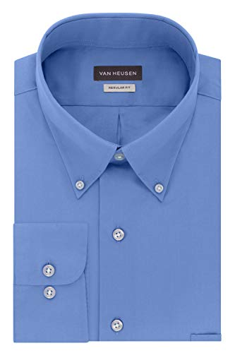 Van Heusen Men's Dress Shirts Regular Fit Silky Poplin Solid, Periwinkle, X-Large