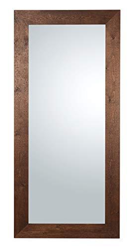 Specchio da Parete Grande con Cornice in Legno Abete FSC Finitura Noce Scuro wenge Misura Esterna cm 85x185. Made in Italy. Fatta a Mano.