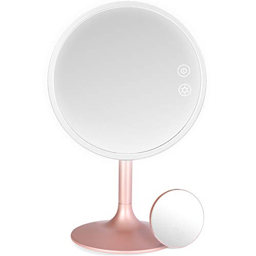 Rottogoon Makeup Mirror with Lights, Rechargeable Cordless Lighted Makeup Mirror LED Vanity Mirror with 1X/5X Magnification, 3 Color Lighting Modes Detachable Light Up Mirror Touch Screen Dimming