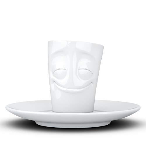 Fifty Eight T02.12.01 Mug Espresso-Mug & Unterteller(vergnügt), Hartporzellan, weiß