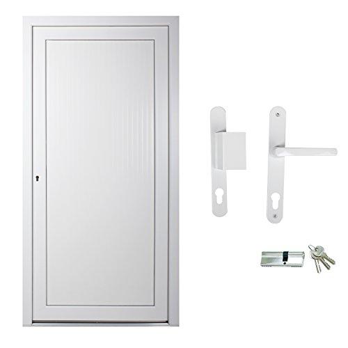 kuporta Kunststoff Kellertür Christin weiß nach Maß DIN rechts nach außen öffnend mit Drücker/Griffplatte