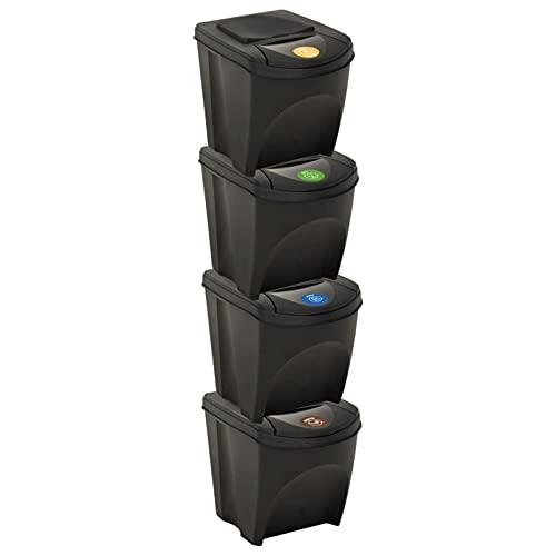 Festnight Cubos de Basura de Reciclaje - Pack de 3 Contenedores de 25L Apilables (Papel - Vidrio - Plástico) - Ideal para Reciclar en Casa Gris Antracita