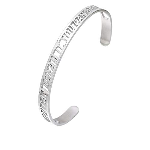 Daesar Brazaletes Acero Inoxidable Mujer Pulsera You Can Dream IT Brazaletes Mujer Anchos 6MM Pulsera Plata