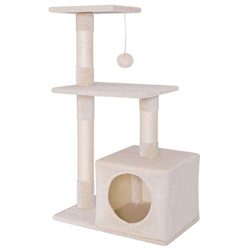 dibea Tiragraffi per gatto albero tiragraffi gatto gioco giocattolo gatti Altezza 85 cm Beige