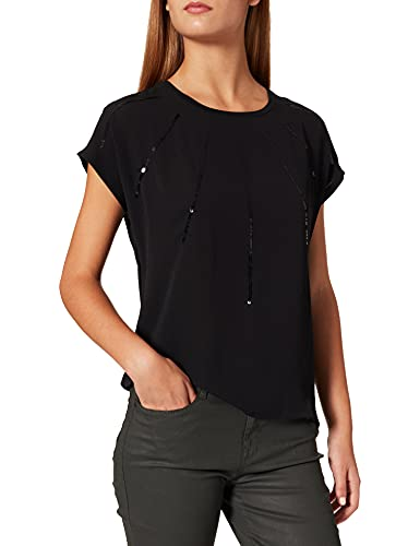 Only Onllouisa S/S Top Jrs Camiseta, Negro/Rayas: Sequins, M para Mujer