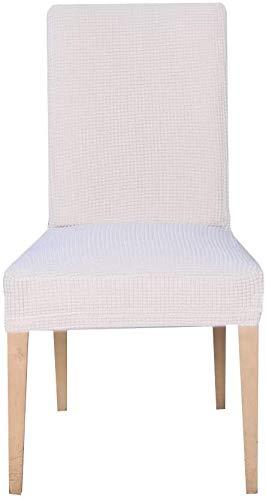 E EBETA Jacquard Fundas para sillas Pack de 4 Fundas sillas Comedor Fundas elásticas Cubiertas para sillas,bielástico Extraíble Funda, Muy fácil de Limpiar (Blanco Marfil, 4 Piezas)