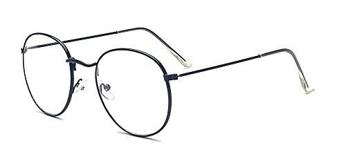 ALWAYSUV ALWAYSUV Modische Runde Schwarz Rahmen Brillenfassung Klare Linse Brille Nerdbrille