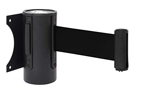 """DuraSteel Crowd Control Wall Barrier - Wall Mount 96"""" Black Retractable Belt w/ Black Finish Body - Safe Braking System and Locking Button - Used in Retail Stores, Airports, Banks, Restaurants, Hotels"""