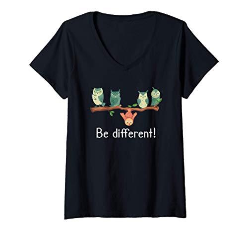 Mujer Be different - Dulces búhos Divertidos búhos de pájaros Camiseta Cuello V