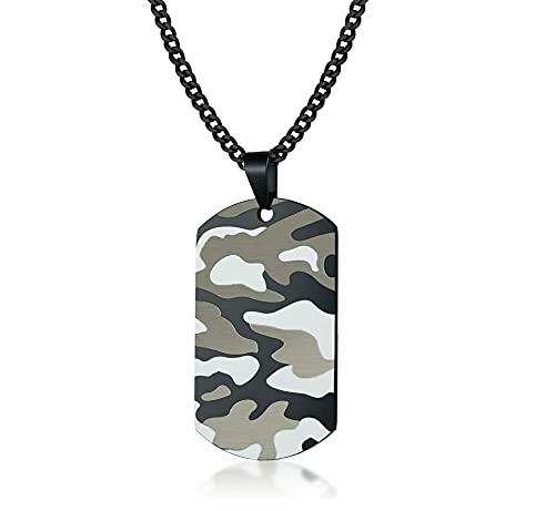 SMEJS, collar con colgante de acero inoxidable para hombre, placa de placa de placa de camuflaje para perro, regalo de joyería de soldado militar del ejército
