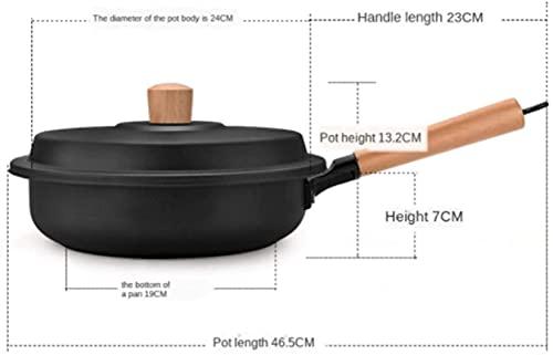aedouqhr Sartén Wok Sartenes Sartén Wok Inferior de 24 cm Sartén Antiadherente NIU PAI guo Cocina General (Color: Negro, Tamaño de Hoja: Aproximadamente 24 cm)