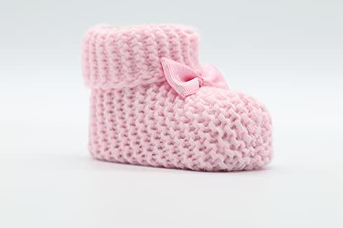 Weiche Babyschuhe gestrickt, Babychucks Unisex Strickschuhe, warme gehäkelte Stricksocken für Neugeborene 0-6M (Rosa)