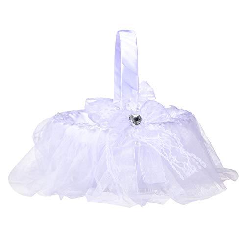 Leyeet Cesta de raso para niña de flores, cesta de flores de...