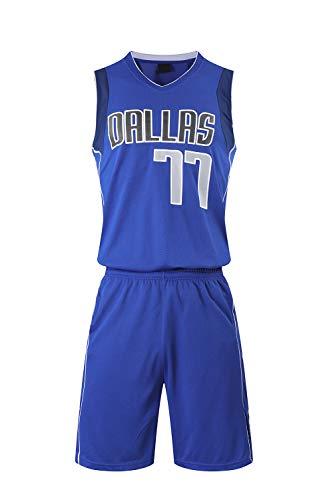 YZQ Divise da Basket per Bambini, Dallas Mavericks # 77 Luka Doncic NBA Jersey Tute Gilet Casual Magliette Sport Top + Pantaloncini,Blu,M(Child) 125~135CM