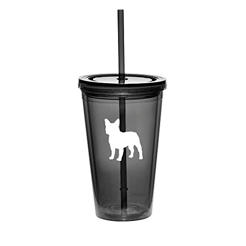 16oz Double Wall Acrylic Tumbler Cup With Straw French Bulldog (Black)